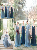 Alluring Mismatched Chiffon Sweep Train A-line Bridesmaid Dresses With Pleats,Cheap Simple Bridesmaid Dresses,VPWG141