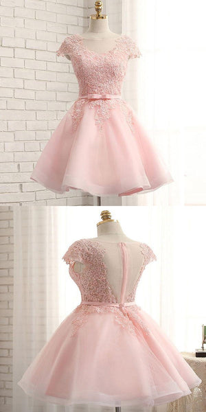 Fabulous Cap Sleeve Pink Lace Beaded Tulle Short Homecoming Prom Dresses, Affordable Short Party Prom Sweet 16 Dresses, Perfect Homecoming Cocktail Dresses,VPBD143