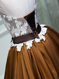 Burnt Orange Strapless Lace Brown Skirt Homecoming Prom Dresses, Affordable Short Party Prom Sweet 16 Dresses, Perfect Homecoming Cocktail Dresses, VPBD144