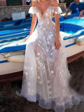 Elegant A-Line See Through White Lace Long Prom Dresses,Sexy Deep V-Neck Spaghetti Straps Prom Dresses,VPPD144