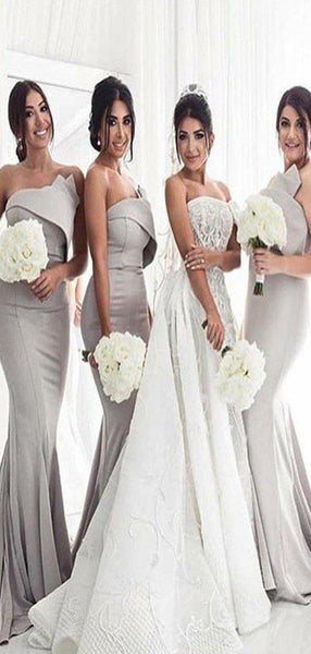 Brand-New Sexy Grey Mermaid Long Bridesmaid Dresses ,Simple Inexpensive Bridesmaid Dresses,VPWG145