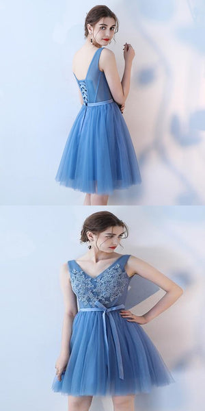 Excellent A-Line Blue Tulle Short Homecoming Dresses With Sleeveless,Perfect Homecoming Dresses,VPBD145