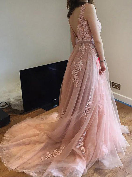 New A-Line Scoop Neckline Dusty Pink Long Prom Dresses With Appliques,Affordable Tulle Inexpensive Prom Dresses,VPPD145