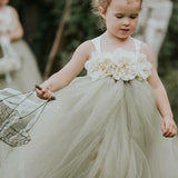 Simple A-Line Sleeveless Tulle Flower Girl Dresses With Hand Made Flower,FG146