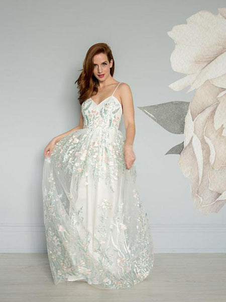 Elegant See Through White Floor-Length Prom Dresses With Spaghetti Straps,Cheap Prom Dresses With Appliques,Custom Made Prom Dresses Online,VPPD148