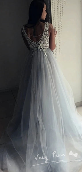 A-Line Deep V-Neck Sleeveless Tulle Sweep Train Prom Dresses With Hand Made Flowers,VPPD1492