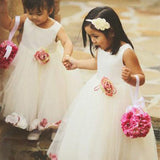 A-Line Round Neck Sleeveless Tulle Ankle Length Flower Girl Dresses With Flowers,FG149