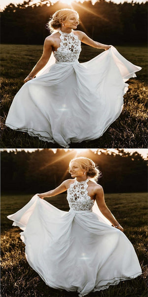 Graceful A-Line Lace Sleeveless Chiffon Long Beach Wedding Dresses With Halter,VPWD150