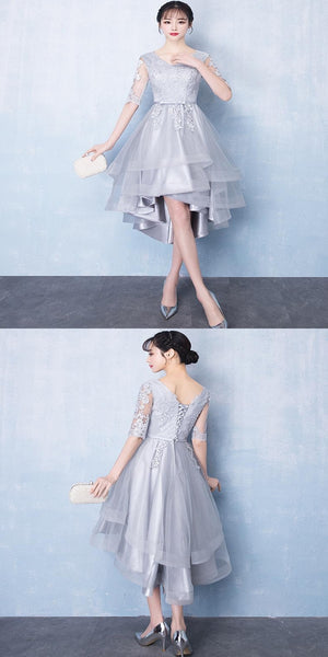 Vogue A-Line Long Sleeves High Low Grey Lace Cheap Homecoming Dresses Online,VPBD151