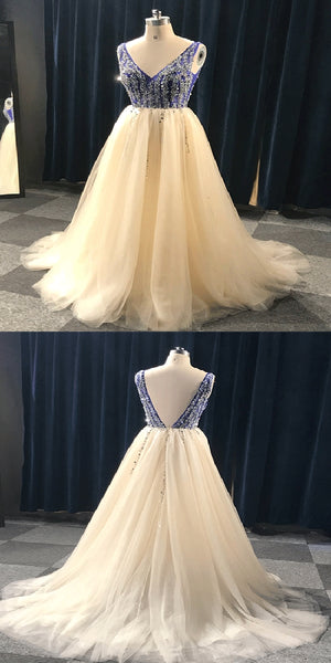 New A-Line V-Neck  Floor Length Royal Blue Tulle Cheap Beads Prom Dresses,Long Prom Dresses With Open Back,VPPD152