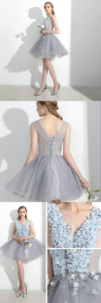 Sexy A-Line V-Neck Light Blue Organza Short Homecoming Dresses With Appliques Online,Inexpensive Homecoming Dresses,VPBD152