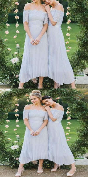 New Arrival Off Shoulder Long Sleeves Short Bridesmaid Dresses Online,Light Blue Bridesmaid Dresses With Half Sleeve,VPWG154