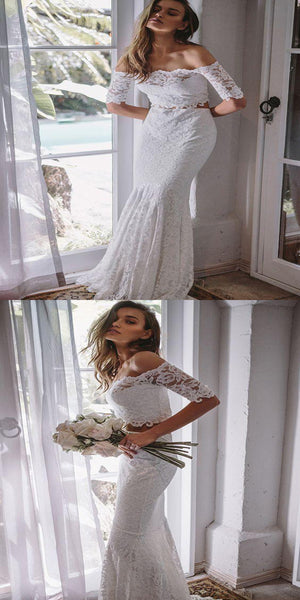 2019 Eye-Catching Lace Off Shoulder Neckline Two Pieces Mermaid Wedding Dresses,White Long Wedding Dresses Online,VPWD155