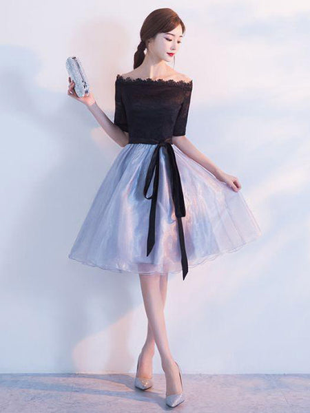 Sexy Off Shoulder Black Tulle Knee Length Homecoming Dresses,Custom Made Homecoming Dresses,VPBD156
