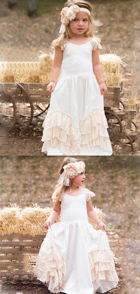 A-Line Round Neck Cap Sleeves Long Flower Girl Dresses With Lace,FG157
