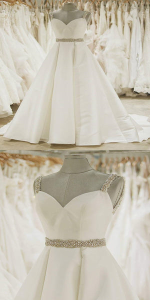 Gorgeous Satin Spaghetti Straps Neckline A-Line Wedding Dresses,Affordable Wedding Dresses Online,VPWD159