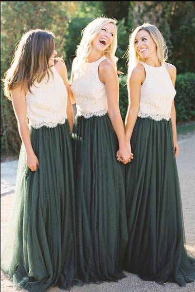 Prevalent Lace Bodice Green Tulle Skirt A-Line Custom Bridesmaid Dresses, Cheap Unique Tulle Long Bridesmaid Gown, VPWG159