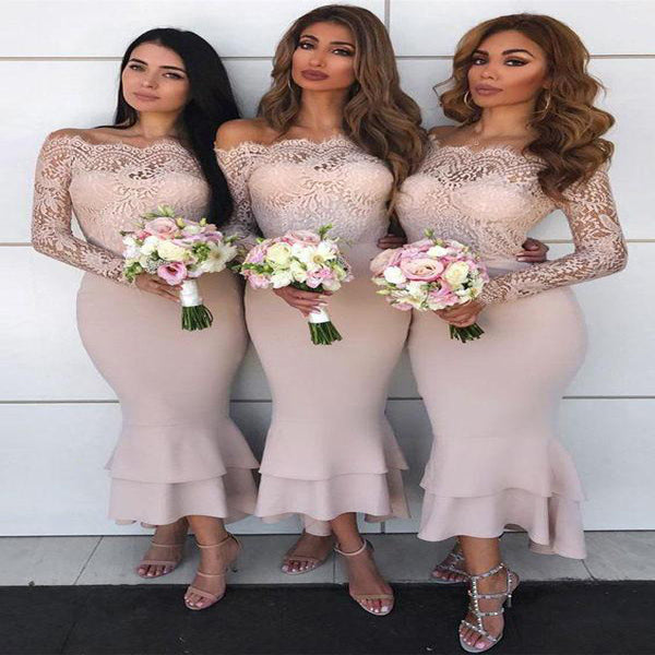 Cheap Off Shoulder Lilac Mermaid Long Bridesmaid Dresses With Lace Long Sleeves,VPWG015