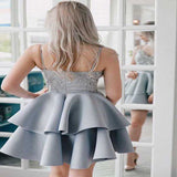 Glamorous A-Line Satin Short Homecoming Dresses With Spaghetti Straps,Affordable Homecoming Dresses Online,VPBD160