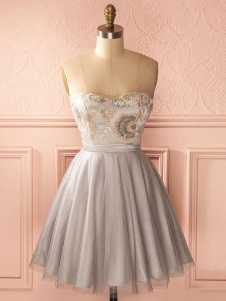Beautiful A-Line Sweetheart Silver Short Homecoming Dresses,Simple Cheap Homecoming Dresses Online,Custom Made Homecoming Dresses,VPBD161