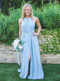 Simple Floor-Length Halter Blue Chiffon Sleeveless Bridesmaid Dresses,Affordable Bridesmaid Dresses Online,VPWG163