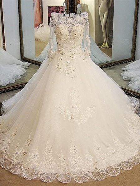 Beautiful A-Line Off Shoulder Chapel Train Tulle Rhine Stone Lace Wedding Dresses,VPWD163