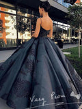 Graceful Ball Gown Spaghetti Straps Floor Length Prom Dresses With Lace,VPPD164