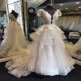 Exquisite Illusion Sweep Train Organza Appliqued Beaded Wedding Dresses,A-Line Long Wedding Dresses,VPWD164