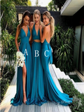 Sexy Deep V-Neck Long Bridesmaid Dresses With Open Back,Custom Made Bridesmaid Dresses,VPWG166