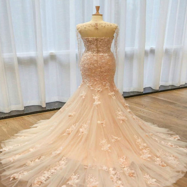 Sexy Mermaid Scoop-Neck Sweep Train Tulle Lace Long Wedding Dresses,Affordable Wedding Dresses,VPWD168