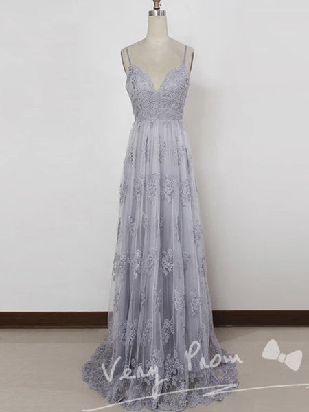 Pretty A-Line Spaghetti Straps Long Grey Tulle Prom Dress With Appliques,Open Back Floor Length Prom Dresses,VPPD023