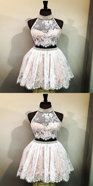 White Cheap Halter Two Piece Cute Lace Homecoming Dresses Online,VPBD017