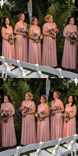 Newest Dusty Pink Mismatched Long Bridesmaid Dresses,Simple Cheap Bridesmaid Dresses Online,Affordable Bridesmaid Dresses,VPWG171