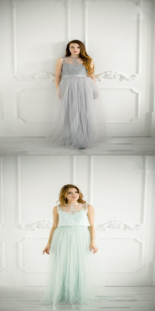 Glamorous See Through Long Tulle Bridesmaid Dresses With Scoop