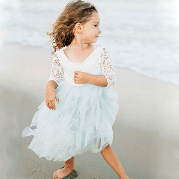 A-Line Round Neck 3/4 Sleeves V-Back Tulle Flower Girl Dresses With Lace,FG174