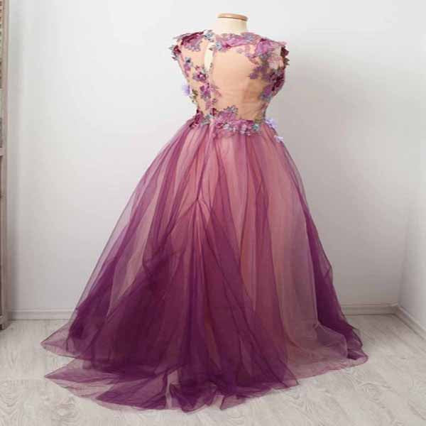 A-Line V-Neck Tulle Sleeveless Long Prom Dresses With Appliques,VPPD174