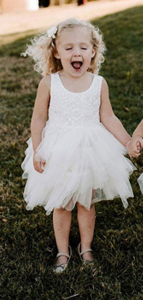 A-Line Round Neck Sleeveless Tulle Flower Girl Dresses With Appliques,FG176