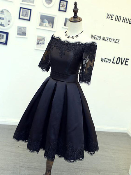 Vogue Black A-Line Off Shoulder Satin Short Homecoming Dresses,Simple Inexpensive Homecoming Dresses,VPBD174