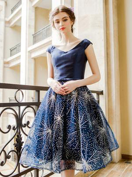 2019 A-Line Navy Homecoming Dresses,Alluring V-Neck Cap Sleeves Short Homecoming Dresses,VPBD179