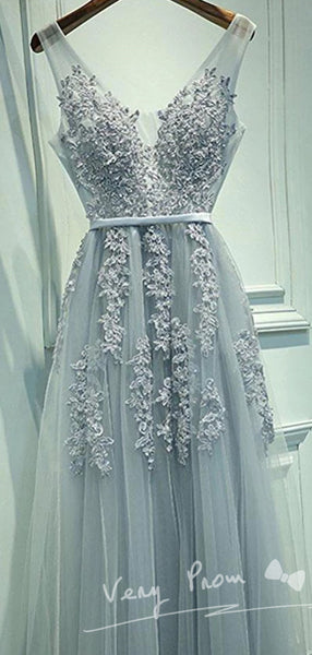 Pretty A-line Grey Tulle with Lace Appliqued V-neck Prom Dresses,Long Evening Prom Dresses,VPPD002