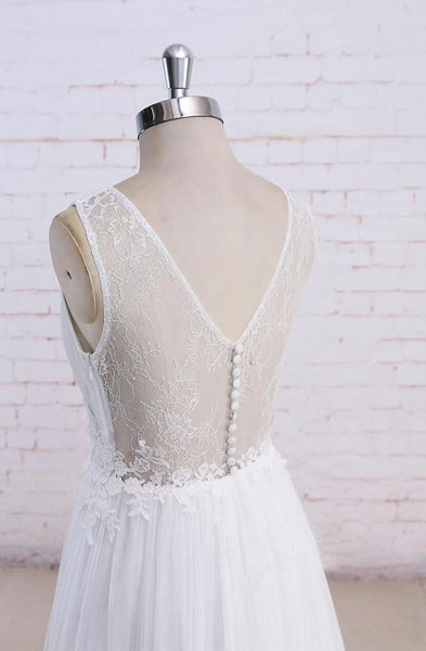 Sexy See Through Scoop Unique Lace Cheap Dresses For Wedding,VPWD219