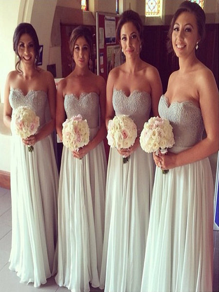 Sexy Strapless Chiffon Long Bridesmaid Dresses,Beautiful Sweetheart Floor Length Bridesmaid Dresses,VPWG180
