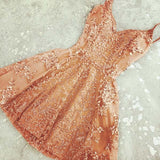 New Arrival Burnt Orange Spaghetti Straps Short Homecoming Dresses Online,VPBD181