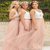 Pretty Two Straps Dusty Pink Two Pieces Long Bridesmaid Dresses Online,VPWG182