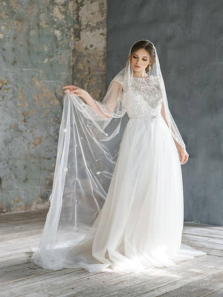 Delicate Lace Tulle Scoop Neckline Wedding Dresses With Open Back,Cap Sleeves Floor Length Wedding Dresses With Beading,VPWD183