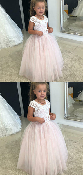 A-Line Round Neck Cap Sleeves Tulle Floor Length Flower Girl Dresses With Lace,FG185