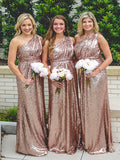 Sexy One Shoulder Sequin Long Bridesmaid Dresses,Custom Made Bridesmaid Dresses,VPWG185