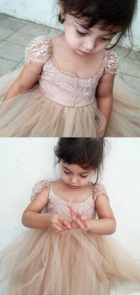A-Line Round Neck Cap Sleeves Tulle Flower Girl Dresses With Lace,FG186