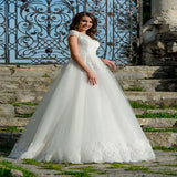 Sexy See Through Short Sleeves Lace Long Wedding Dresses With Scoop Neckline,VPWD186