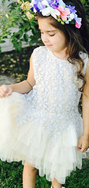 A-Line Round Neck Sleeveless Tulle Flower Girl Dresses With Appliques,FG187